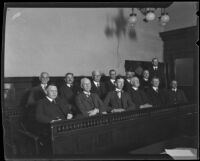 Jurors in the trial of Louise Peete find her guilty of first-degree murder, Los Angeles, 1921