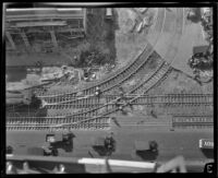 Overhead view the Pacific Electric Depot, Los Angeles, 1924-1925