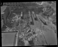 Bird's-eye view of a contruction project to expand the Pacific Electric Railroad, Los Angeles, 1925