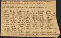 Press release reporting the arrest of Asa Keyes, District Attorney, on bribery charges, 1928