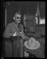 Mexican cowboy Francisco Perez testifies on behalf of evangelist Aimee McPherson, Los Angeles, 1926