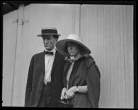 Sister and father of murder vicitm Alberta Meadows arrive at the inquest, 1922