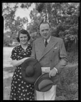 Leonard Plugge, head of the International Broadcasting Company of London, with his wife Ann, Los Angeles, 1935