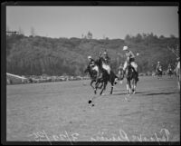 Polo match between Texas and Riviera, a Santa Monica-based team, at the Uplifter's Ranch polo field in Rustic Canyon, Los Angeles, 1935
