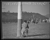 Polo match between Texas and Riviera, the local team, at the Uplifter's Ranch polo field in Rustic Canyon, Los Angeles, 1935