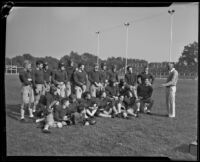 Pomona College football team gathers together with Head Coach Gene Nixon for the first time of the season, Pomona, 1933