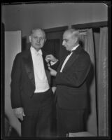 John C. Porter receives French medal from consul Henri Didot, Los Angeles, 1933