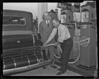 John C. Porter visits W. A. Taylor's service station, Los Angeles, 1933