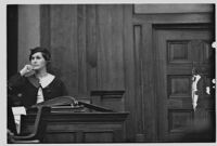 Ava B. Reich providing testimony in the trial of David and Serge Mdivani, Los Angeles, 1934
