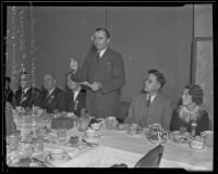 Edward Craig, speaker of Assembly, addressing convention luncheon attendees at the Clark Hotel, Los Angeles, 1935