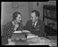 Bayard Rhone, deputy Attorney-General, and Edna Quigley on their wedding day, Los Angeles, 1935
