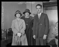 Louise Winters, Blanche Rice, Rev. D. V. Alderman at the grand jury investigation into the Aimee Semple McPherson case, Los Angeles, 1926