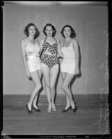 Jean Robinson, Honey Smith and Virginia Neal, beauty contestants, Los Angeles, 1933
