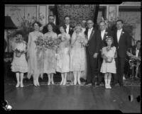 Mr. and Mrs. Harold Roberts and their wedding party, Los Angeles, 1926