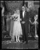 Harold Roberts and his new wife, Alice Ann Healy Roberts on their wedding day at the Ambassador Hotel, Los Angeles, 1926