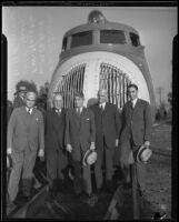 F. W. Robinson, W. M. Jeffers, F. W. Charske, Carl R. Gray, and W. A. Harriman arrive in Los Angeles via railroad, 1934