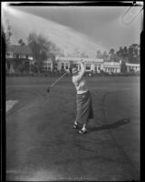 Lucille Robinson posing post-swing at the Los Angeles Country Club, Los Angeles, 1934
