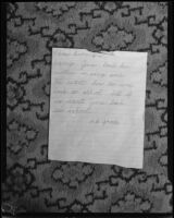 Letter to kidnapper of June Robles, 1934