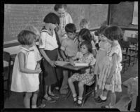 School children write a letter to kidnapper of June Robles, Tucson, 1934