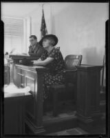 Ena Gregory, Australian actress, testifying in court before Judge Kenny during her divorce proceedings, Los Angeles, 1934