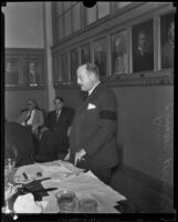 Henry L. Roosevelt, Assistant Secretary of the Navy, speaking at the Chamber of Commerce luncheon, Los Angeles, 1933