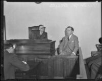 Victor H. Rossetti testifies at coroner's jury, Los Angeles, 1932