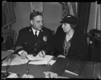 Police Chief James E. Davis and Gertrude Rounsavelle, Los Angeles, 1935