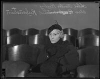 Chloe Carter Rubinstein seated in court the day her divorce was granted, Los Angeles, 1934