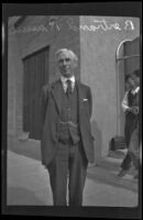Bertrand Russell, English philosopher, on the day addressed students at Cal Tech, Pasadena, 1929