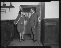 Lillian Butterfield attends traffic school with Judge Louis P. Russill, Los Angeles, 1926