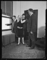 Lillian Butterfield with Coroner Nance and Judge Louis Russill, Los Angeles, 1931