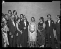 Dr. Jose S. Saenz, Carmen Pesqueira, J. C. Del Rio, Dolores Del Rio, Pilar Saenz, and F. Alfonso Pesqueira at the celebration of the anniversary of Mexican Independence, Los Angeles, 1926