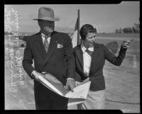 Hal Clark Sanborn and Ladya Kalishek discuss plans for Clover Field airport, Santa Monica, 1934