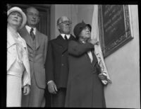 Margaret Sartori unveils the dedication plaque at Hershey Hall, UCLA, Los Angeles, 1931