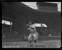 Bobby Schang, catcher, poised to catch in a baseball field, 1920-1929