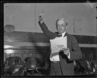 Paul Schenck, trial attorney, in a courtroom, Los Angeles, 1932