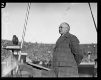 James A. B. Scherer, Director of the Southwest History Museum, speaking at the Coliseum, Los Angeles, probably 1927