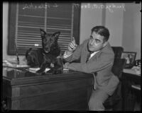 Judge A. A. Scott with canine witness, Blackie, in his office, Los Angeles, 1935