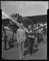 """Pilots Edward Schlee and William Brock in front of the """"Miss Wayco"""" monoplane, 1928"""
