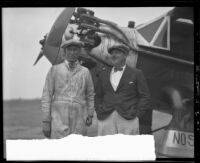 "Edward Schlee and William Brock with the Bellanca monoplane ""Rosemarie,"" San Diego, 1928"