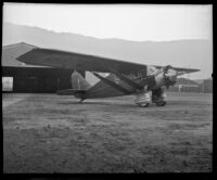 "Bellanca model J Pathfinder, ""Rosemarie,"" that broke the world's endurance flight record, San Diego, 1928"