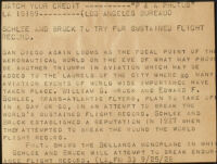 "Press release titled ""Schlee and Brock to try for sustained flight record,"" 1928"