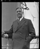 Adolph Schleicher on a ship, location unknown, 1932