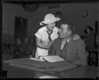 Pete Schneider and Alma Schneider appear in court, Los Angeles, ca. 1935