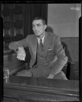 Former baseball star Pete Schneider appears in court, Los Angeles, ca. 1935