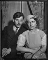 Chess master Herman Steiner poses with his new wife, Selma, Hollywood, 1933