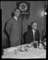 Paul Steintorf and Charles Hart talk trade relations with Japan, Los Angeles, 1934