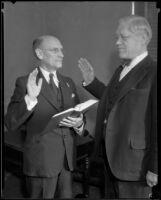 Albert Lee Stephens swears in Charles S. Crail, Los Angeles, 1934