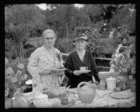 Violet Stevens and Mrs. E. Wardle serve refreshments at Ms. Stevens home, South Pasadena, 1934-1936