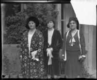 Grace Stoermer, Julia Macbeth, and Mayme Bonham gather at the Women's Athletic Club, Los Angeles, 1930